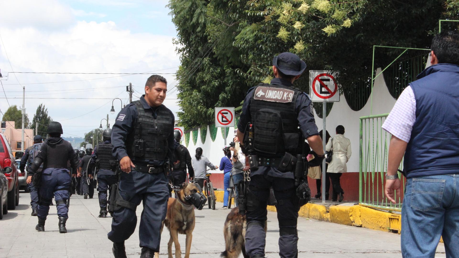 Elementos policiales de San Andrés el 6 de Octubre de 2014